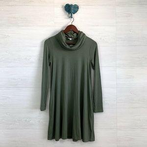 Socialite Olive Green Cowl Neck Soft Slinky Dress